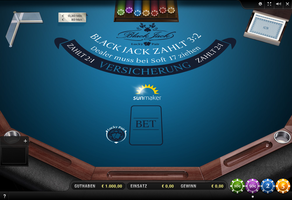 Blackjack Table bei Sunmaker Casino